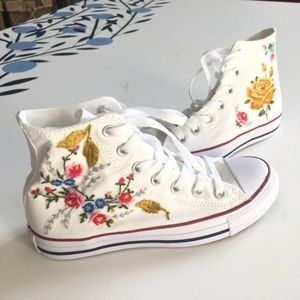 Custom Embroidered High Top White Converse Floral